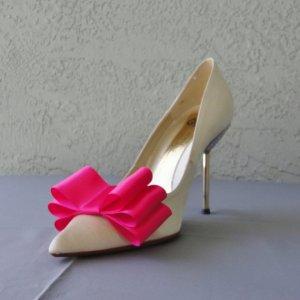 Chuletindesigns Hot Pink Satin Ribbon Bow Shoe Clips