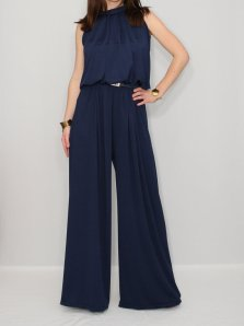 Etsy Navy Blue Jumpsuit Wide Leg Palazzo KSclothing