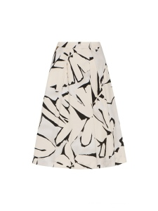 Veronika Maine Flared Asymmetrical Midi Skirt