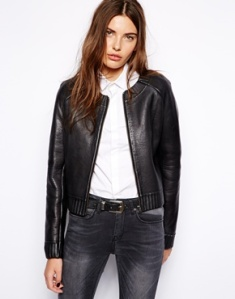 Asos Muubaa Rabi Knit Lined Leather Jacket