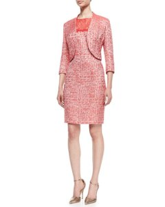 Kay Unger New York Cutaway Hem Jacket and Sleeveless Lace Top Sheath Dress