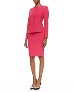 Neiman Marcus Albert Nipon Two-Piece Knit Skirt Suit, Fuchsia