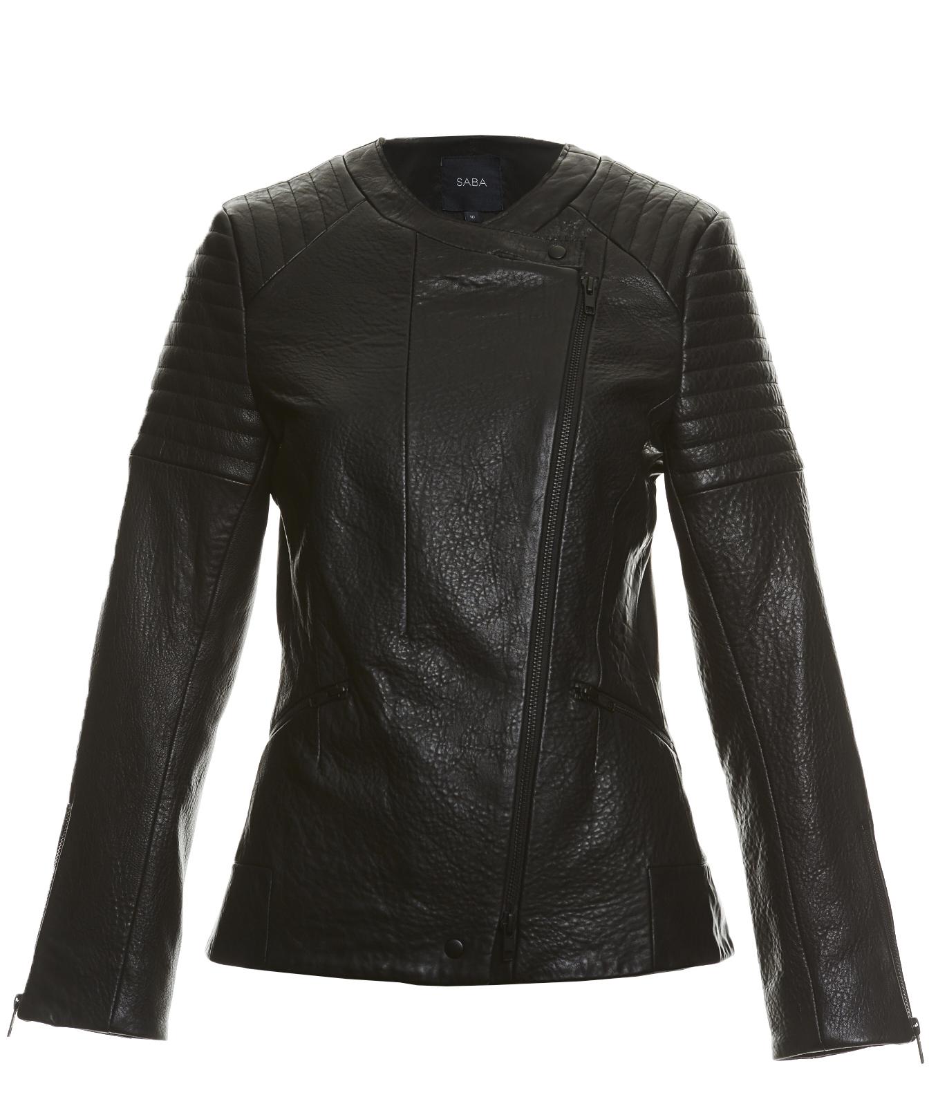 Leather jacket jeanswest -  Leather Biker Saba Erika Biker Jacket Black