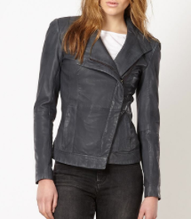 Todd Lynn Edition Grey Leather Asymmetric Jacket