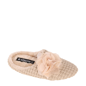 BigW Allsorts Knitted Flower Scuff Slippers