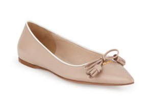 Prada Point Toe Tassell Ballerina Flat
